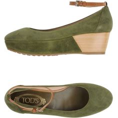 Tod's Pump (545 CAD) ❤ liked on Polyvore featuring shoes, pumps, military green, ankle strap shoes, olive green shoes, leather wedge shoes, leather wedge pump and wedge pumps