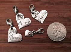 4 pcs ~ Variety of heart affirmation antique silver tone charms ready to hang with lobster clasps by BuildUrBling on Etsy