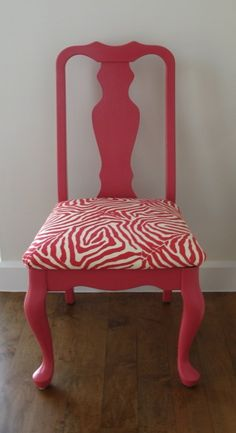 I want a chair like this... probably not that pattern (we have enough white), but the blush pink color would be fun.