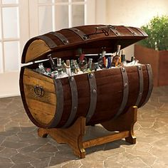 Reclaimed Tequilla Barrel Ice Chest and Stand