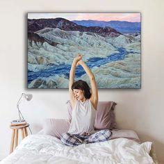 """Paisaje lunar"" una fotografía de Javier Aranburu.  #bedroomdeco#decoideas#goodmorning#moonlandscape#photodecor#fotodecorative#fotografíadeautor#relax#quietplaces#bed#mountains#sunrise"