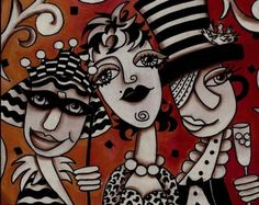 GIRLFRIENDS 4 8 x 10 FINE ART PRINT by mixed media by KellyLishArt, $15.00 Silpada Designs, Mixed Media Artists, Whimsical Art, Friends Forever, Me As A Girlfriend, How To Introduce Yourself, Girlfriends, Branding Design, Fine Art Prints
