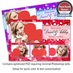 http://www.photoboothtemplates.com/product/whispering-hearts-celebration-postcard/  This romantic photo booth template features an array of dancing hearts in the background and light, airy hearts floating in the foreground. Personalize for Valentine's day, special events or weddings. Each photo is framed with a thin border. Background, banner, picture borders and heart colors can easily be adjusted to compliment any event. This template is a postcard arranged in a 1×3 photo arrangement.