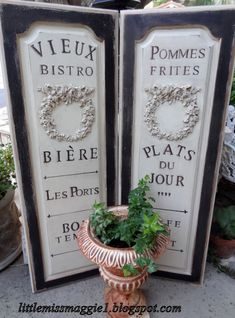 French Bistro Signs   Chalk Drawing On Craft Paper   Attach To Existing  Screens