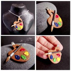 Colorful palette - pendant by caithness-shop Diy Clay, Clay Crafts, Diy And Crafts, Polymer Clay Charms, Polymer Clay Jewelry, Handmade Wire Jewelry, Gifts For An Artist, Clay Art, Jewelry Crafts
