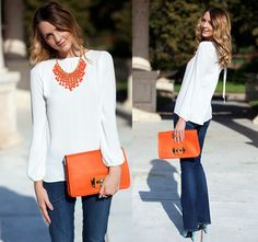 Levi's Bootcut Skinny Jeans, Flowy White Tie Back Shirt, Orange Bead Dangle Necklace, Orange Clutch/Bag