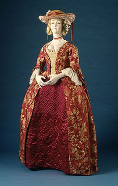 This amazing red and gold brocade open robe was made in Italy between 1725 and 1750.