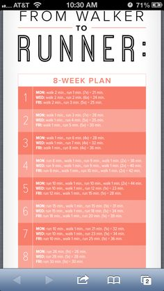 From Walker to Runner This plan involves three running workouts per week. On the days you're not running, it's OK to work your muscles in other ways by doing different forms of cardio, strength-training sessions, or yoga or flexibility training. As always, listen to your body and adjust the schedule as needed to allow for much-needed recovery time. Begin each workout with a five-minute warmup, followed by a five-minute cool down.