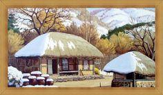 초가집 일러스트 - Google 검색 Watercolor Cards, Watercolor Painting, Korean Art, Gazebo, Outdoor Structures, Traditional, Landscape, The Originals, Drawings
