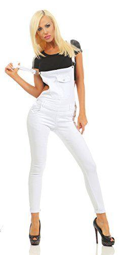 19b060915ae Fashion4Young 3993 Knackige Damen Latzhose Latzjeans Röhrenjeans Jeans  Hosenträgern Overall (Weiss S 36)