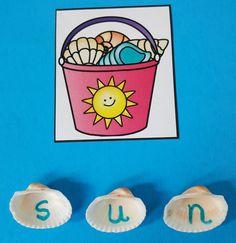 Beach Themed Phonics Fun for Your Little Learners! Write letters on seashells with a permanent marker. Use the seashells to spell CVC words.  Great for Morning Tubs, Early Finishers, Literacy Centers, and Informal Assessment!  $   #CVCwords #Beach #summer #cvc #phonics #kampkindergarten #seashells  https://www.teacherspayteachers.com/Product/Beach-CVC-Sandpail-Summer-Match-Up-3131657