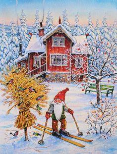 Christmas Gnome Skiing 2-Sided Garden Flag