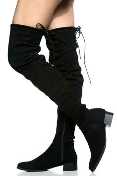 Black Faux Suede Flat Pointed Toe Thigh High Boots Price:$52.99