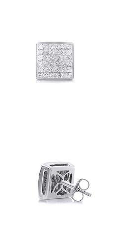 Other Wedding Jewelry 164311: Men S Single Princess Cut Diamond Stud Earrings Sterling Silver 1 Carat -> BUY IT NOW ONLY: $193.98 on eBay!