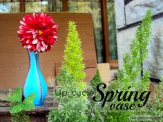 Upcycle Painted spring vase. Have an old vase that is no longer used as a flower vase or accessorize! Refresh it's look to match your home decor with paint