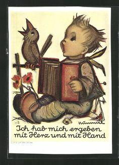Alte Ansichtskarte von Hummel: Junge spielt Akkordeon und singt zusammen mit einem Vogel. Maria Innocentia Hummel, 1909 - 1946, war eine deutsche Franziskanerin, Zeichnerin und Malerin. Weltweit berühmt wurde sie durch ihre Kinderbilder und die nach ihren Entwürfen gefertigten Hummel-Figuren aus Keramik. Stichworte: #Accordion #Art #Painting #Hummel