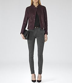 Womens Bordeaux Leather Biker Jacket - Reiss Lima