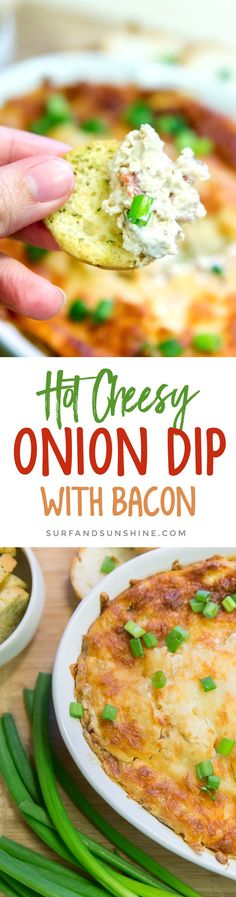 Awesome Game Day or Party Appetizer Recipe: Hot Cheesy Onion Dip with Bacon via @jeanabeena