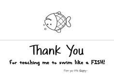 Crystal's Craft Spot: Swimming teacher gift.