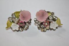 Vintage Robert Haskell Earrings Enamel Rhinestone Glass Designer 1950s  Jewelry