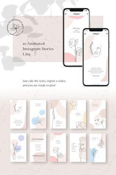ANIMATED Instagram Stories - Lina Social Media, #Ad #Stories #Instagram #ANIMATED #Media Instagram Feed Ideas Posts, Instagram Feed Layout, Instagram Design, Free Instagram, Instagram Story Template, Instagram Story Ideas, Social Media Template, Social Media Design, Web Design