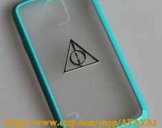 harry potter Samsung Galaxy S5 case,phone cover, blue-green color frosted translucent Samsung Galaxy S5 case with a Deathly Hallows