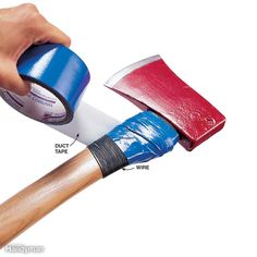 Splitting firewood is tough on ax and maul handles, especially near the head where near misses leave the handle gouged and splintered. To protect the handle, wrap it tightly with 18-gauge wire, then cover the wire with duct tape.