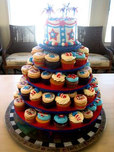 4th Of July Cupcakes | 4th of July Cupcake Tower |