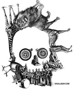 Skull created from Victorian illustrations from Skull-a-Day