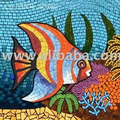 Decoration - Handmade ceramic mosaic painting - Under water - Fish 033 Paper Mosaic, Mosaic Crafts, Mosaic Projects, Stained Glass Patterns, Mosaic Patterns, Mosaic Glass, Mosaic Tiles, School Murals, Mosaic Animals