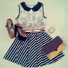Our Story Top + Sixties Stripes Skirt + 2 tones pumps + Catwalk 3 tones bag