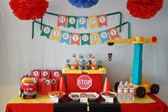 Jocelyn's Parties: Tonka Chuck and Friends/Construction Party Dessert Table Birthday, 1st Birthday Themes, Kids Party Themes, 4th Birthday Parties, 2nd Birthday, Birthday Ideas, Party Ideas, Birthday Stuff, Dessert Tables