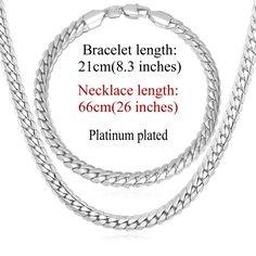 Trendy 18K Gold/Platinum Plated Chain Necklace & Bracelet Jewelry Set
