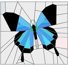 (7) Name: 'Quilting : Blue butterfly block