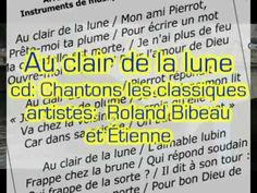 """Music video clip for the lyric video """"Au clair de la lune"""" for the song by the same title off of the CD """"Chantons les classiques ! Instruments, French Songs, All Songs, Music Videos, Lyrics, Writing Words, Moonlight, Classic, Tools"""
