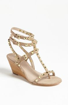 i know you will say the gold is too much, but its a low wedge, its a nude, and i think it could be super fun with your mint pants and white t and navy blazer. or with a maxi   Ash Delirious Sandal available at #Nordstrom