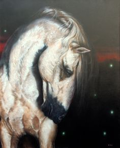 "Lance Rodgers oil on canvas - 60"" x 40"" Dark Horse and Fireflies"