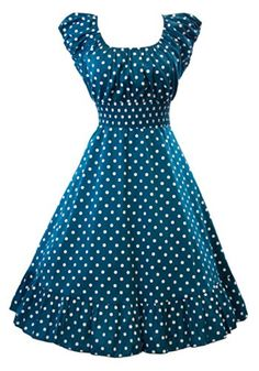 Sidecca Retro Polka Dot Smock Swing Dress-Plus Size Simple Dresses, Pretty Dresses, Casual Dresses, Vintage Dresses, Vintage Outfits, Frock Fashion, Latest African Fashion Dresses, Vintage Mode, Retro Dress