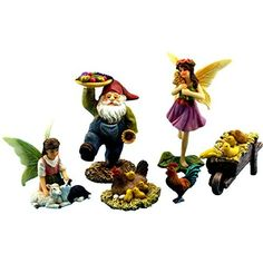 Fairy Garden - Garden Fairies – Miniature Accessories with Farm Animals and Gnome – 6 Piece Set – Part of the Fairy Farm Collection by Pretmanns