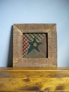 Framed STAR Primitive Rustic Wall by BlueRidgeMercantile Primitive Stitchery, Primitive Folk Art, Primitive Crafts, Primitive Christmas, Wood Crafts, Primitive Stars, Primitive Patterns, Primitive Snowmen, Primitive Country