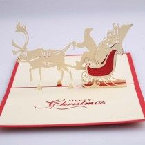 Wedding & Anniversary Bands 3d Pop Up Santas Sleigh Greeting Card Merry Christmas Wedding Postcard Gift Hot Smoothing Circulation And Stopping Pains