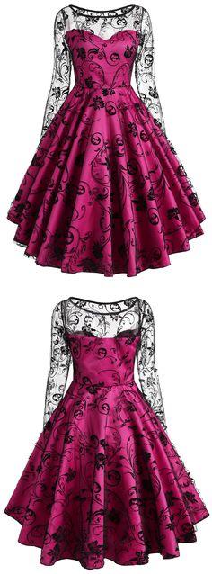 Lace Overlay Vintage Dress | $17.72 + Free Shipping | #womensfashion #vintagedress