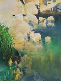 River Rock in Sun, painting by artist Randall David Tipton