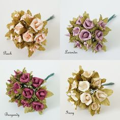 24 Small Rustic Paper Rose Flower Bouquet Multiple by LePetitPain