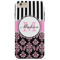 Girly Modern Pink Glitter Damask Personalized Tough iPhone 6 Plus Case #iphone #cases