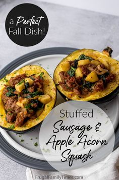 This roasted stuffed acorn squash with sausage and apples is the perfect fall meal! This baked squash meal is filled with the autumn flavors you're craving: savory sausage, sweet-tart apples, caramelized onions and spinach. It's the ultimate vitamin stuffed acorn squash meal - or a perfect holiday side dish! Fall Dishes, Holiday Side Dishes, Thanksgiving Recipes, Fall Recipes, Holiday Recipes, Acorn Squash Recipes, Baked Squash, Easy Meal Plans, Supper Recipes