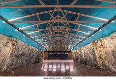 Inside Sundbybergs subway station in Stockholm Tunnelbana - Stock Image