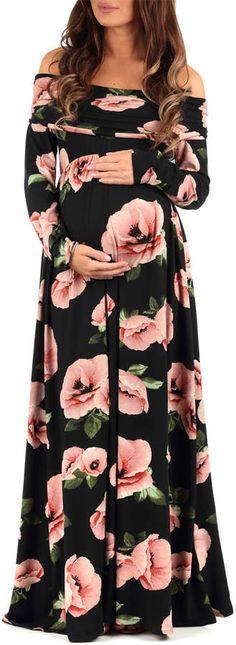 Black & Blush Ruched Maternity Off-Shoulder Dress.#ad