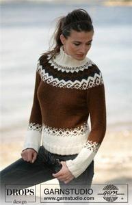 "Milk & Chocolate - Pulli mit 2 Fäden ""Alpaca"" - Free pattern by DROPS Design Fair Isle Knitting Patterns, Sweater Knitting Patterns, Knitting Designs, Knit Patterns, Free Knitting, Tejido Fair Isle, Icelandic Sweaters, Drops Design, Hand Knitted Sweaters"