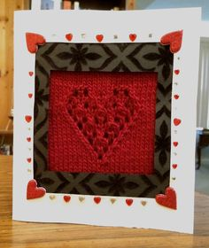 Free Knitting Pattern for Valentines Day Card - Elanor King provides a knitting pattern for the heart motif and detailed instructions with photos on how to assemble your own card. Of course you can also use the pattern as a motif for blankets, wash cloths, etc. Pictured project by BlackHorizonsBlue